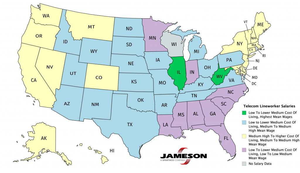 Telecom worker salaries by state